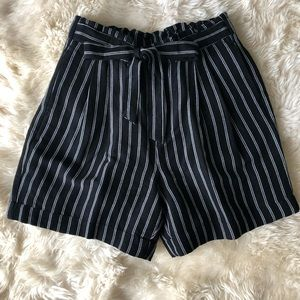 Paper Bag Waist Black and White Striped Shorts.